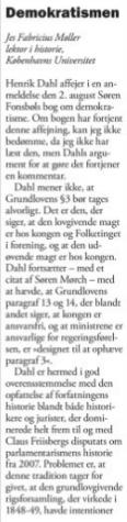"""Jes Fabricius Møllers svar på Henrik Dahls anmeldelse af """"Demokratismen - vores nye religion"""" i Weekendavisen uge 32, 2013"""